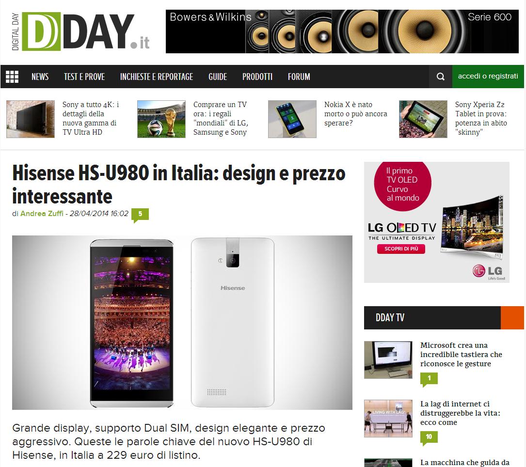 Su hisense hs u980 in italia design e prezzo for Hisense italia